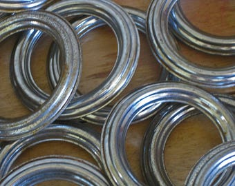 Ridged silver metal curtain rings, antique French drapery rings