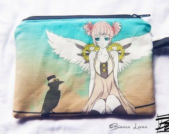 Birds on a Wire Zippered Pouch - Coin Purse Wallet - steampunk anime girl artwork - Bianca Loran Art