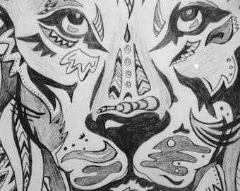 Lion Man Cave Art : Custom art for the wandering soul by rosiethewanderer on etsy