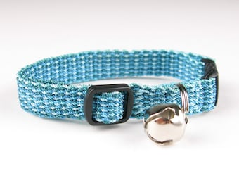 Kitty Cat Collar Hand Woven Breakaway Kitten Collar Turquoise Teal Speckle