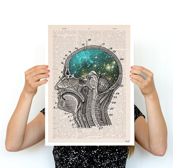 Cosmic Brain Human Anatomy Art Anatomical art prints, wall art poster, galaxy art, A3 poster size , Galaxy art  wall art, SKA112PA3