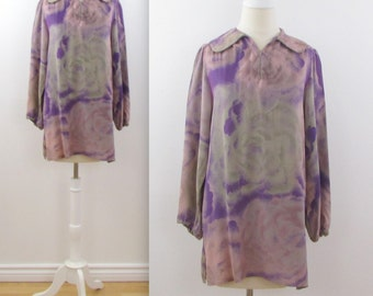 Vintage 1970s Liliane Burty Tunic Blouse w/ Peter Pan Collar in Dusky Pink + Mauve in Large