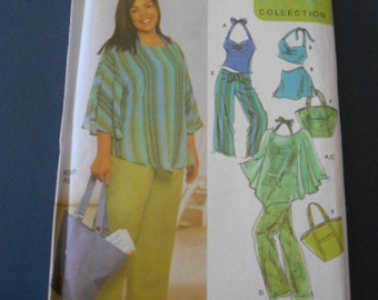 Simplicity 5073,  Top, poncho, skirt, swimsuit, bag   size 18w to 24w
