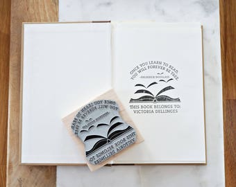 Personalized Teacher Gift Teacher Book Stamp Bookplate Stamp Frederick Douglass Quote Book Plate Stamp Personalized Gift Graduation Gift