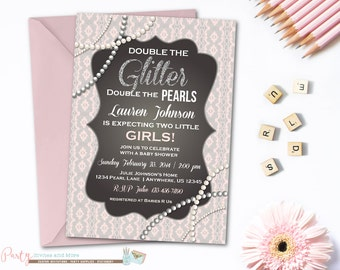 Twins Baby Shower Invitation, Glitter and Pearls Baby Shower Invitation, Twins Invitation, Pearls and Lace Baby Shower, Twins Baby Shower