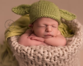 Yoda Hat NewBorn Photo Prop Star Wars inspired Hand Knit