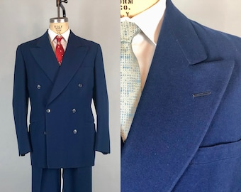 "Vintage 1940s Mens Suit | 40s Blue Gabardine Wool Twill Double Breasted Peak Lapel Jacket & Trousers by ""Howard Clothes""  