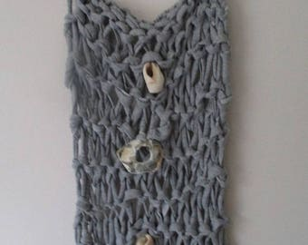Big Yarn Knitted Wall Panel, Wood Hanging,  Beach Art Shells Forest Driftwood, hygge decor, grey housewarming gift, modern abstract art