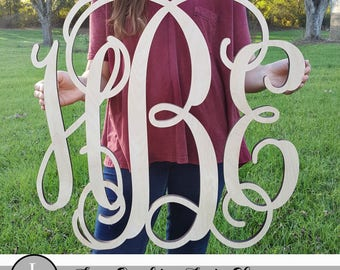 Unpainted Wooden Monogram Wall Hanging - Wall Monogram - Furniture Accessories - Wall Accessories - Monogram Accessories - Home Decor ,