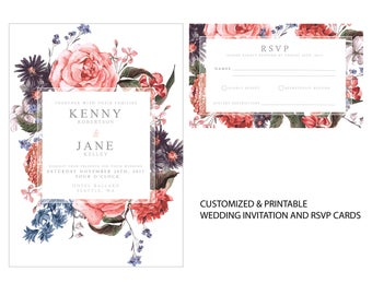 Elegant Floral Wedding Invitation | Personalized and Printable | Floral Wedding