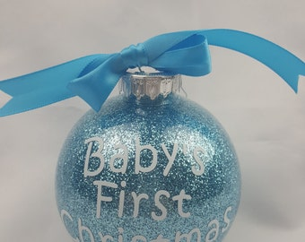 Personalized First Christmas Baby Ornament- Blue