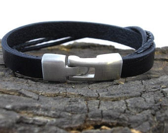 Bracelet leather black Braided for men