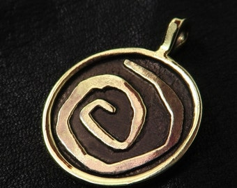 Brass Yellow Sign spiral pendant