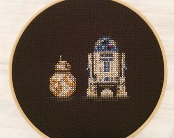 BB-8 Ball Droid and R2-D2 Star Wars Cross Stitch Pattern - Instant Download PDF