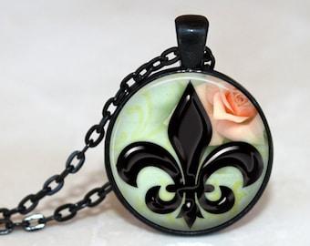 Shiny Black Fluer De Lis with Rose Pendant, Necklace or Key Chain - Choice of 4 Bezel Colors
