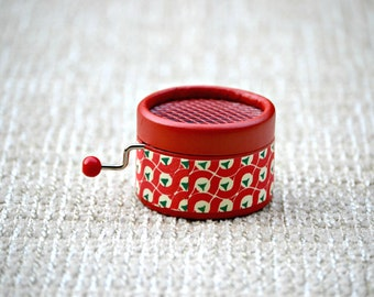 Little personalized music box. Hand cranked. Retro red. Choose a melody from the list.