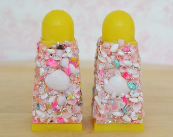 Vintage Plastic Salt and Pepper Shakers with Sea Shells and Glitter