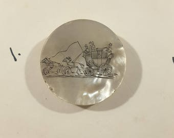 Early 1800's hand engraved pearl coaching button.