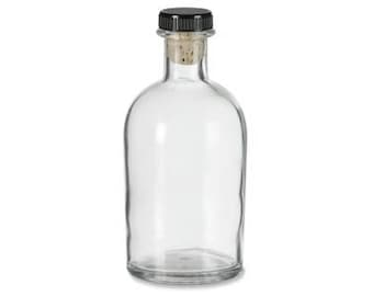 6 pcs Boston Round Clear Glass Bottle with T-Bar, 8.5 oz (250 ml)