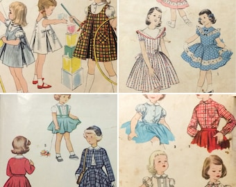 4 Vintage 40's/50's sz 5/6 Childs' Sewing Patterns Vogue Blouse Skirt Dress Suit (0275)