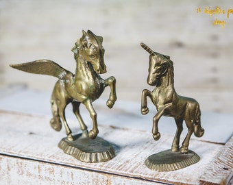 SET of Vintage Brass UNICORN and PEGASUS