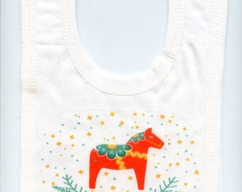 Scandinavian Baby Bib ~ Swedish Dala Horse or Swedish Princess