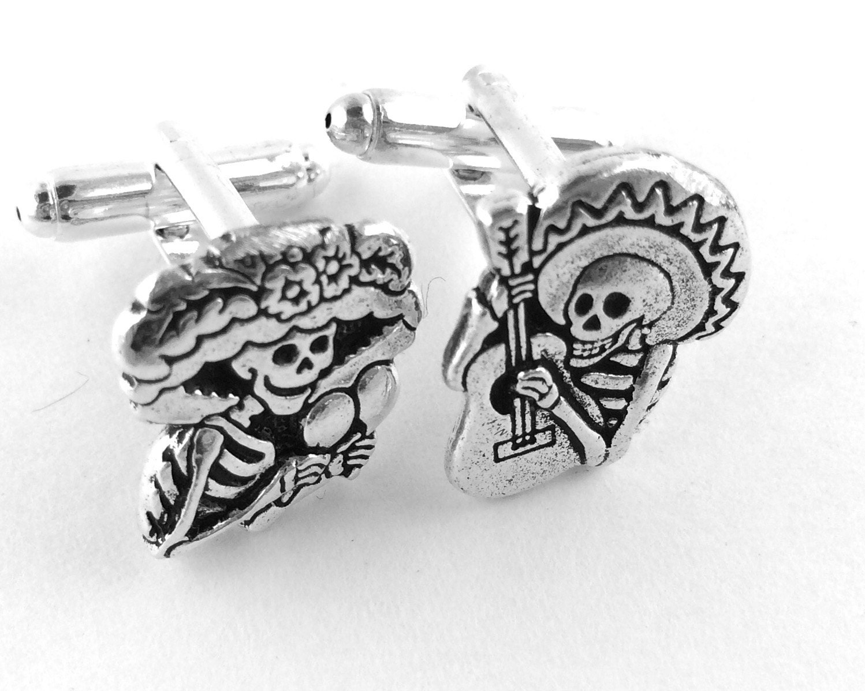 Sugar Skull Cufflinks Mens Skull Cufflinks Day of the Dead