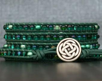 celtic knot bracelet - irish bracelet - green beaded wrapped bracelet - green seed beads on emerald leather - st. patrick's day jewelry