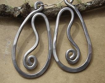 Big Teardrop Vine Earrings - Light Weight Aluminum Jewelry- Boho Long Hammered Metal Wire - Very Big Earrings, Unique Big Earring, Handmade