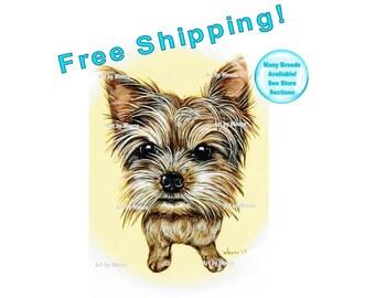 Yorkie Art, Yorkshire Terrier Art, Yorkie Painting, Yorkie Gifts, Yorkie Picture, Yorkie Drawing, Yorkie Print, Pet Portrait, Free Shipping!