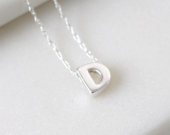 Sterling Silver Initial D Pendant Necklace • Letter Necklace • Initial Pendant • Initial Jewellery • Personalised Initial Necklace