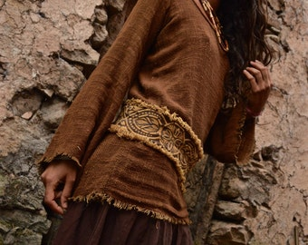 Long Sleeve Brown Organic cotton shirt with Embroidered belt