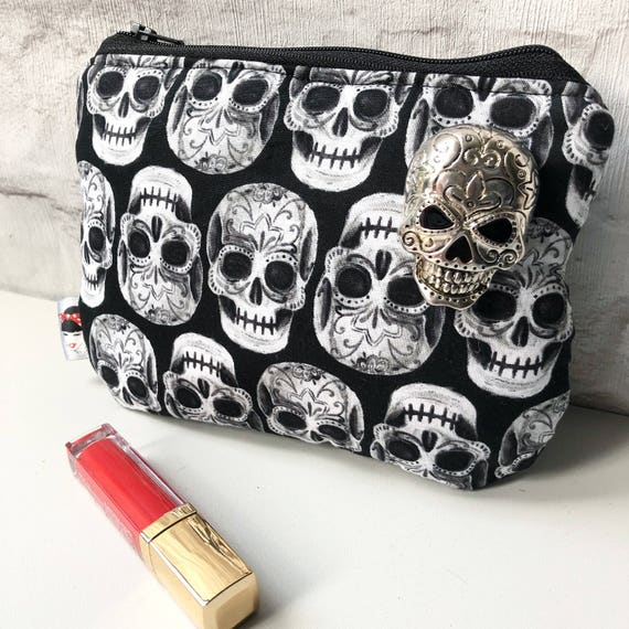 Sugar Skull Print Cosmetic Makeup Bag Rockabilly Pinup