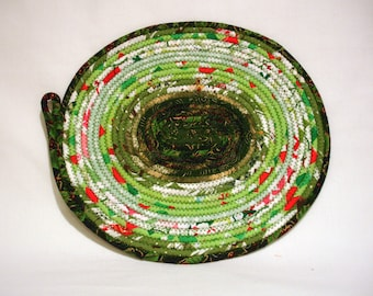 Christmas Green Coiled Fabric Candle Mat, Table Mat, Gift