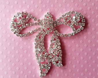 "Rhinestone Bow Applique. Glass Rhinestone Applique. 2""x 2"". 1 Piece."