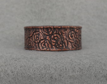 Wide Hand Forged Copper Wedding Band, rustic organic man's ring, spiral textured copper ring, hippie, oxidized size 10, 12.5 ready to ship