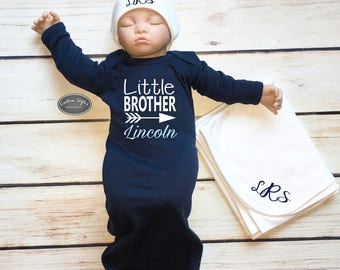 Baby Boy Coming Home Outfit, Personalized Navy Blue Sleep Sack, White Monogram Beanie, White Receiving Blanket,Baby Boy Gown, Little Brother