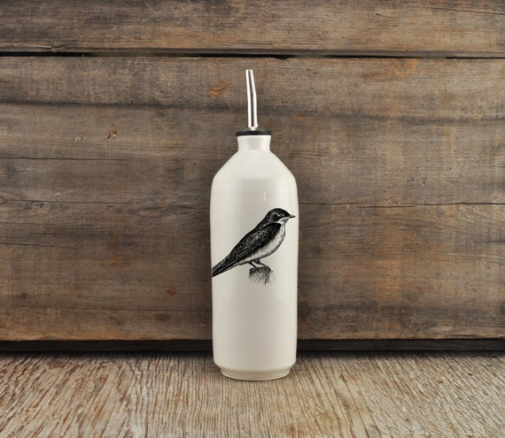 Handmade white glossy porcelain cruet with Tree Swallow drawing by Cindy Labrecque, Canadian Wildlife collection