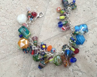 Rainbow Glass Stone Cluster Charm Bracelet - Sterling Silver with Mixed Glass Beads and Swarovski Crystals