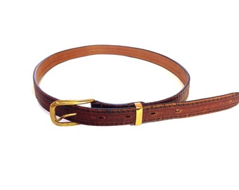 Hickok Sculptured Saddle Leather Brown Genuine Leather Slim Belt - Size Small