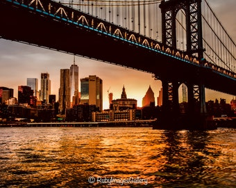 Brooklyn Bridge Sunset, New York, Fine Art Print