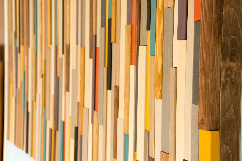 Mid Century wall art, reclaimed wood art sculpture, painted wood ...