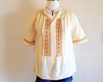 Vintage Ethnic Boho Hippie Blouse with Open Crochet Work