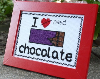 I Need Chocolate cross-stitch kit