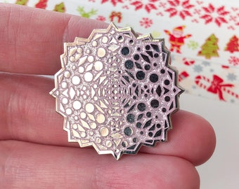 Snowflake enamel pin / glitter lilac enamel pin / winter enamel pin / pastel pin / hard enamel pin / Christmas stocking filler