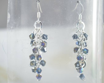 Crystal Drop Earrings - Dark Blue AB Coating 4mm Bicones - Crystal Cascade Earrings - 26 Crystals