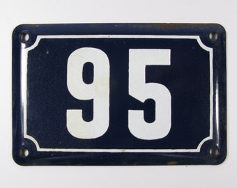 House Number Plate No. 95, Original Enamel French Blue and White, Old French House Number, Enamel House Number (348)