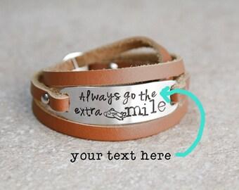 Leather Wrap Bracelet, Hand Stamped Jewelry, Adjustable Length Bracelet, Gift Ideas, Airplane, Motivational Bracelet