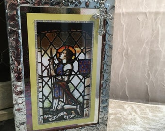 St Joan of Arc Novena Stained Glass Holy Card Scared Art Prayer Card Novena on back