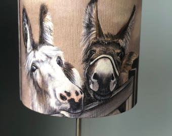 Two donkeys over gate 30cm diameter lampshade